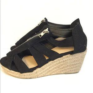 Lily Morgan sz 7 black wedge open toe sandal NWOT